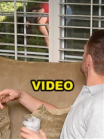 Horny neightbor spies on a hottie then gets to bang a hot big bush bombshell